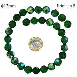 Perles facettées en verre - Rondes/12 mm - Erinite AB
