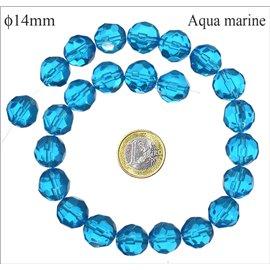 Perles de Bohème Facettées - Ronde/14 mm - Bleu
