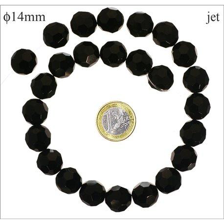 Perles de Bohème Facettées - Ronde/14 mm - Noir