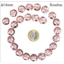 Perles de Bohème Facettées - Ronde/14 mm - Rose