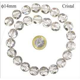 Perles de Bohème Facettées - Ronde/14 mm - Transparent