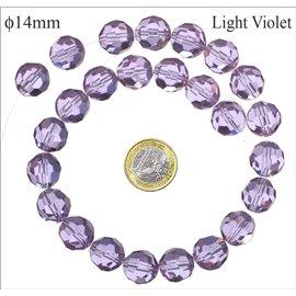 Perles de Bohème Facettées - Ronde/14 mm - Violet