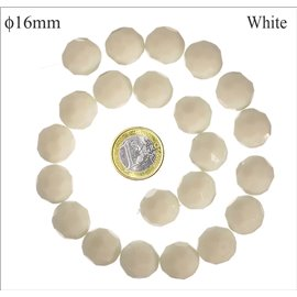 Perles de Bohème Facettées - Ronde/16 mm - Blanc