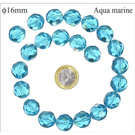 Perles de Bohème Facettées - Ronde/16 mm - Bleu