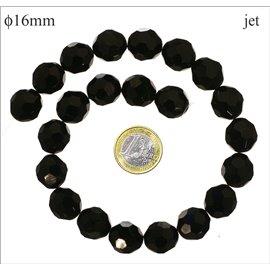 Perles de Bohème Facettées - Ronde/16 mm - Noir