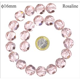 Perles de Bohème Facettées - Ronde/16 mm - Rose