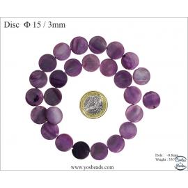 Perles en nacre - Disques/15 mm - Violet