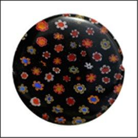 Perles Millefiori de Murano - Disque/30 mm - Noir
