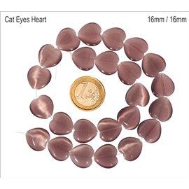 Perles Œil de Chat Lisses - Coeur/16 mm - Violet