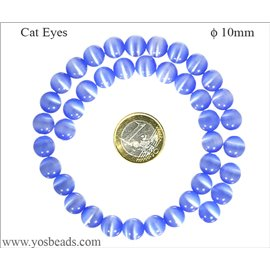 Perles Œil de Chat Lisses - Ronde/10 mm - Bleu