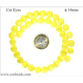 Perles Œil de Chat Lisses - Ronde/10 mm - Jaune