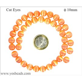Perles oeil de chat lisses - Rondes/10 mm - Orange