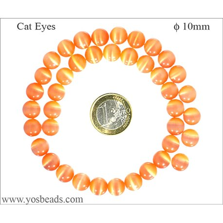 Perles Œil de Chat Lisses - Ronde/10 mm - Orange