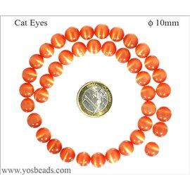 Perles oeil de chat lisses - Rondes/10 mm - Orange foncé