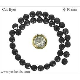 Perles oeil de chat facettées - Rondes/10 mm - Noir