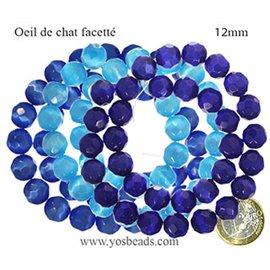 Perles Œil de Chat Facettées - Ronde/12 mm - Bleu