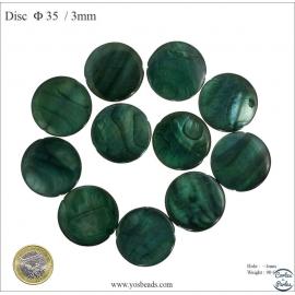 Perles en nacre - Disques/35 mm - Vert foncé