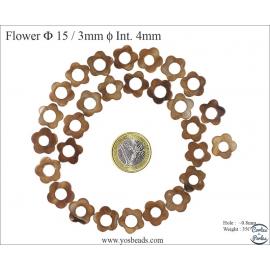 Perles en nacre - Fleurs/15 mm - Marron