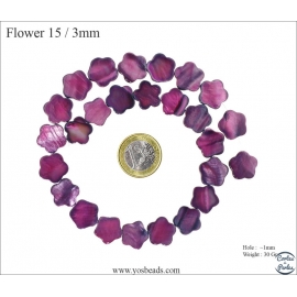 Perles en nacre - Fleurs/15 mm - Prune