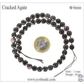 Perles semi précieuses en agate - Rondes/8 mm - Noir