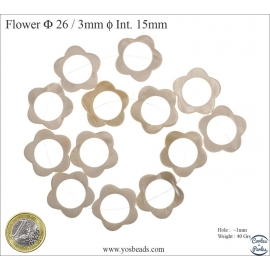 Perles en nacre - Fleurs/26 mm - Naturel