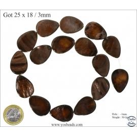 Perles en nacre - Gouttes/25 mm - Marron foncé