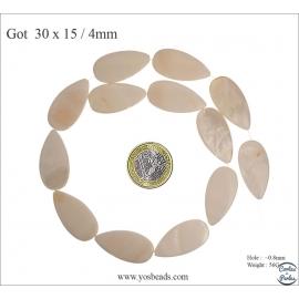 Perles en nacre - Gouttes/30 mm - Naturel