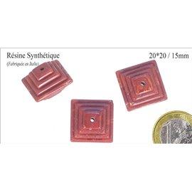 Perles en résine synthétique - Carré/20mm - Brique