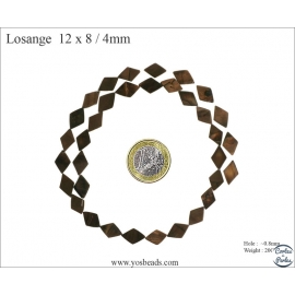 Perles en Nacre - Losange/12 mm - Marron