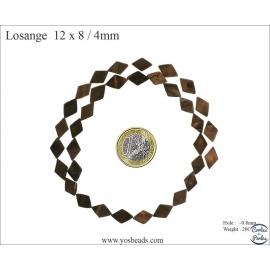 Perles en nacre - Losanges/12 mm - Marron foncé