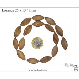 Perles en Nacre - Losange/25 mm - Marron