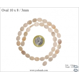 Perles en nacre - Ovales/10 mm - Naturel