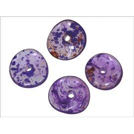 Perles en Résine Synthétique - Roue/15 mm - Violet
