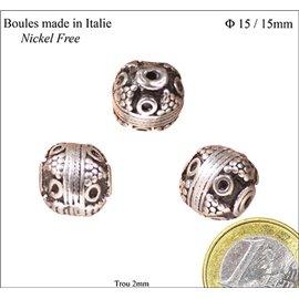 Apprêts Boules de Métal qualité premium - 15 mm - Argenté