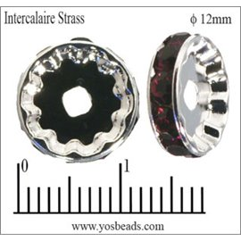 Apprêts Intercalaires Strass - 12 mm - Bourgogne