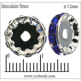 Apprêts Intercalaires Strass - 12 mm - Saphir