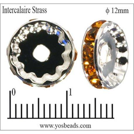 Apprêts Intercalaires Strass - 12 mm - Topaze