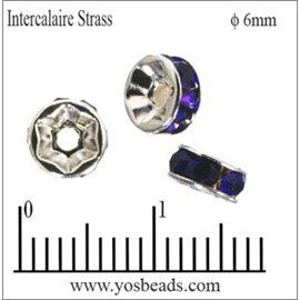 Apprêts Intercalaires Strass - 6 mm - Saphir