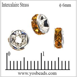 Apprêts Intercalaires Strass - 6 mm - Topaze