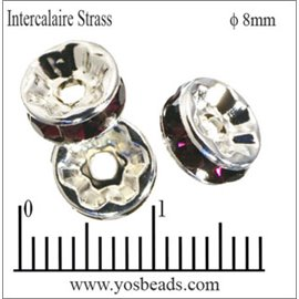 Apprêts Intercalaires Strass - 8 mm - Bourgogne