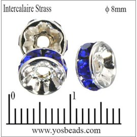 Apprêts Intercalaires Strass - 8 mm - Saphir