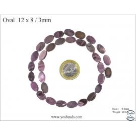 Perles en Nacre - Ovale/12 mm - Violet