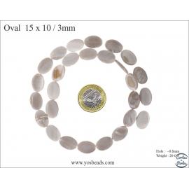 Perles en Nacre - Ovale/15 mm - Blanc