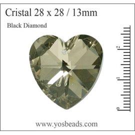 Lot de 5 pendentifs en cristal - Coeurs/28 mm - Black diamond