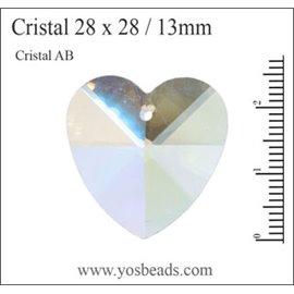 Lot de 5 pendentifs en cristal - Coeurs/28 mm - Transparent