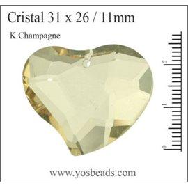Lot de 5 pendentifs en cristal - Coeurs/31 mm - K Champagne