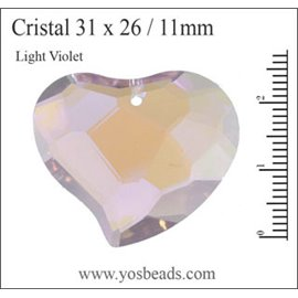 Lot de 5 pendentifs en cristal - Coeurs/31 mm - Light violet