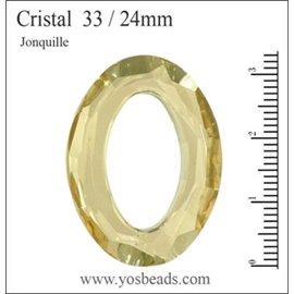 Lot de 3 pendentifs en cristal - Ovales/33 mm - Jonquille