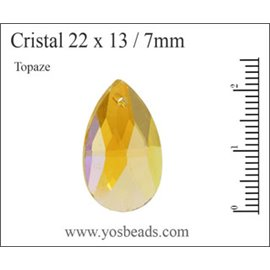 Lot de 5 pendentifs en cristal - Gouttes/22 mm - Topaze