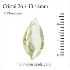 Lot de 5 pendentifs en cristal - Gouttes/26 mm - Champagne
